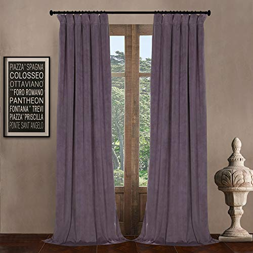 """52"""" W x 96"""" L (set of 2 Panels) Pinch Pleat 90% White Lining Blackout Velvet Solid Curtain Thermal Insulated Patio Door Curtain Panel Drape For Traverse Rod and Track, Fresh Violet Curtain"""