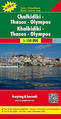 Chalkidiki - Thasos - Olympos, Autokarte 1:150.000: Top 19 Tips Sehenswürdigkeiten. Cityplan. Ortsregister mit Postleitzahlen (freytag & berndt Auto + Freizeitkarten)