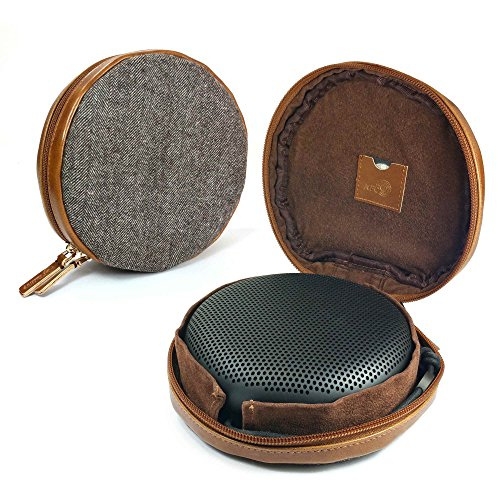 Tuff-Luv Herringbone Tweed NFC Travel case für Bang & Olufsen Beoplay A1 Bluetooth Speaker - Braun
