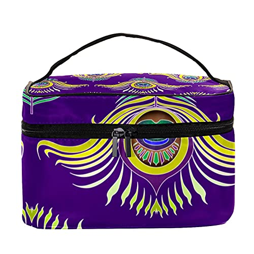 Vintage Peacock Feathers Purple Pattern Travel Makeup Bag Large Cosmetic Bag Makeup Case Organizer Zipper Toiletry Bags for Women Girls