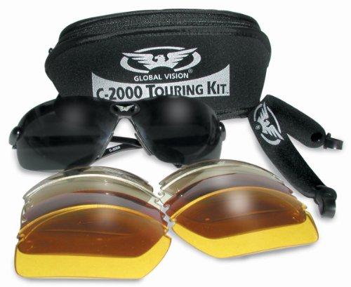 Motorrad/Biker Rundum Brillen/Sonnenbrillen tourt komplett mit 5 Sätze von Wechselobjektiven und Aufbewahrungstasche
