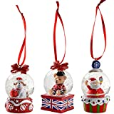 WeRChristmas Dog Santa Bear Mini Snow Globe Christmas Ornaments 4 cm - Set of 3