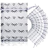 50 Pieces Lash Bags White Eyelash Print Bags Eyelash Drawstring Bags with Heart and Lash Pattern Jewelry Pouches Wedding Party Christmas Favor Bags for Eyelash Lipstick Makeup Tools, 4 x 6 Inches