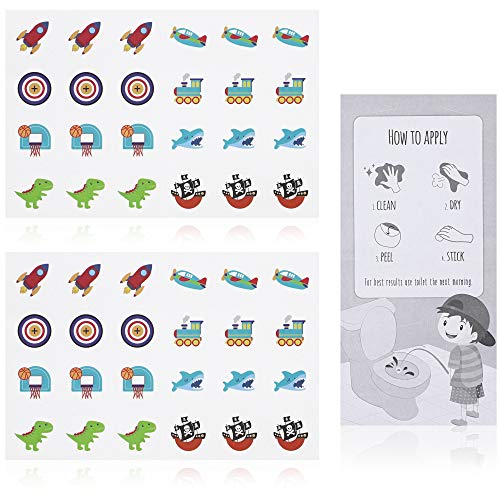 Juvale Toilet Training Sticker for Boys (2 Sheets, 48 Stickers, 8 Designs)