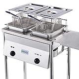 Bioexcel Two-Tank Deep Fryer with basket-Adjustable Temperature-Outdoor Deep Fryer Features Regulating Nobs-Stainless Steel Oil Tank-Baskets & Lids