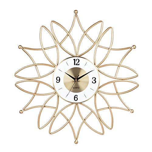 Matuke Wanduhr im Modern-Stil mit geräuschlosem Uhr Küchenuhr ohne tickgeräusche für Wohnzimmer Küche Büro, Ø 60cm - Golden