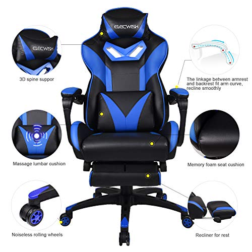 Reclining Video Game Chair - Adjustable Computer Gaming Desk Chair with Massage Lumbar Pillow and Footrest, High Back PU Leather E-Sports Chair (Z Series-Blue) chair gaming