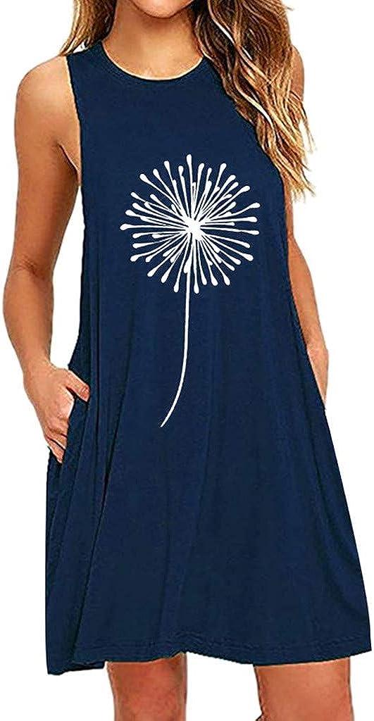 Women's Vest Sleeveless Dress Summer Dandelions Printing Casual Nightdress Short Mini Dress with Pocket for Teen Girls