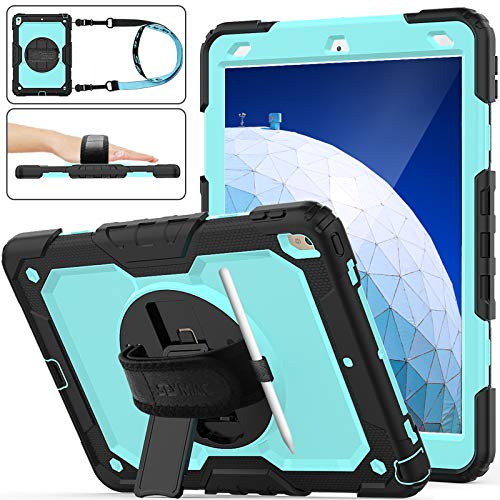 iPad Air 3rd Gen 2019/iPad Pro 10.5 Case, [Full-body] Shockproof Armor Protection Case with [360 Rotating Stand] Strap [Screen Protector] [Pen Holder] for iPad Air 3 / Pro 10.5'' (Skyblue+Black)