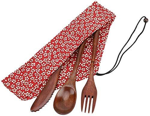 Juego de vajilla de bambú Estilo japonés Cubiertos reutilizables Vajilla de viaje Cubiertos de camping Cuchillo de madera natural Tenedor Cuchara con bolsa de almacenamiento roja(Tenedor)