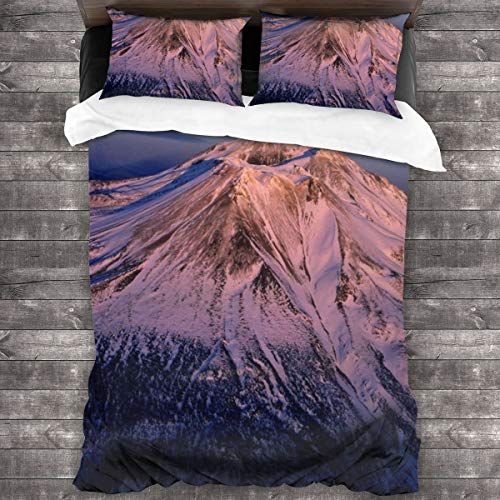AIMILUX Duvet cover,Beautiful Natural Landscape,Volcano Covered By Heavy Snow,Comfortable and soft Microfibre quilt cover 200x200cm,2 Pillowcase 50X80cm