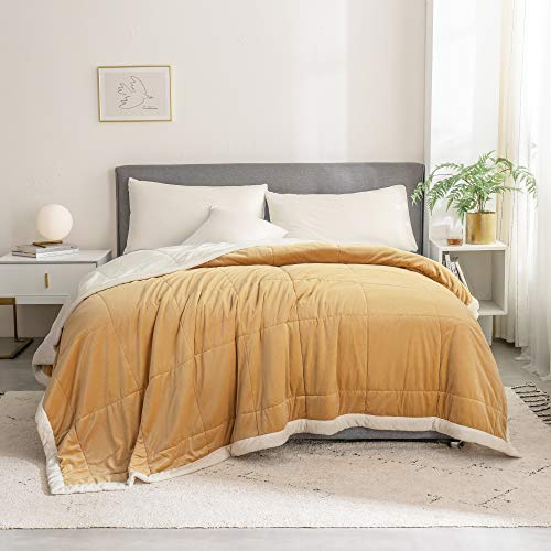 SHALALA NEW YORK Luxury Velvet Quilt - Bed Couch Throw Blanket for Adult or Kids - Super Soft Micro-Mink Fleece Bedspread Warm Coverlet Lightweight Bed Cover (Yellow, Quilt Only - Full/Queen)