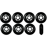 Player's Choice Inline Skate Wheels 76mm 82A Black Outdoor Roller Hockey Rollerblade 8 Pack