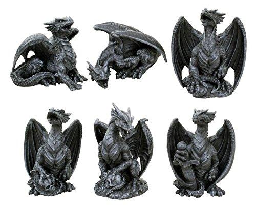 Unbekannt 6er Set Drachen Figuren Gothic Fantasy Deko Drache Dragon