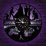 LED Vinyl Record Wall Clock with Star Wars Design LED Night Light LED Vinyl Wall Clock 12 inch Wall Clock 3D Hanging Wall Watch 7 Colors Changing with Remote Controller