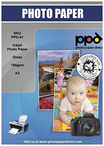 PPD A3 x 100 Hojas de Papel Fotográfico Brillante - Gramaje de 180 g/m² y Secado Instantáneo - Para Impresora de...