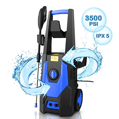 CHAKOR 3500PSI Pressure Washer Electric, 2.0GPM High Power Washer Cleaner Machine with Long Hose, 4 Nozzle, Detergent Bottle, and Brush (Blue)