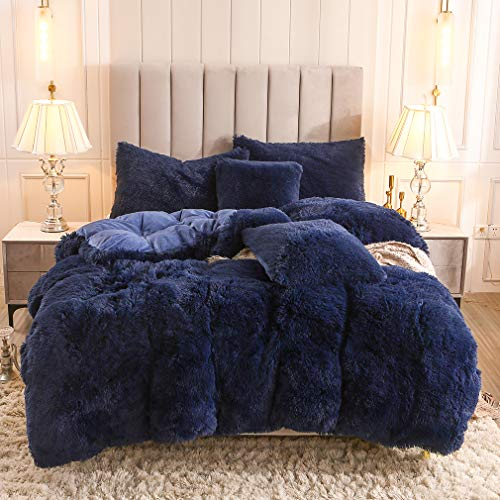 Uhamho Faux Fur Velvet Fluffy Bedding Duvet Cover Set Down Comforter Quilt Cover with Pillow Shams, Ultra Soft Warm and Durable (King, Navy)