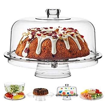 Acrylic Cake Stand with Dome Cover  6 in 1  Multi-Functional Serving Platter and Cake Plate - Use as Cake Holder Salad Bowl Platter Punch Bowl Desert Platter Nachos & Salsa Plate