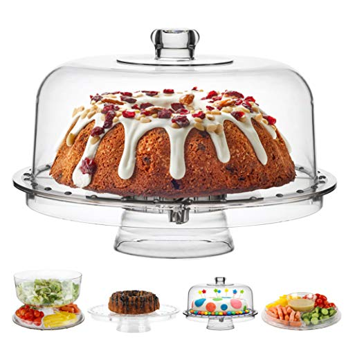 Homeries Cake Stand with Dome Cover (6 in 1) Multi-Functional Serving Platter and Cake Plate - Use as Cake Holder, Salad Bowl, Platter, Punch Bowl, Desert Platter, Nachos & Salsa Plate, (Acrylic)