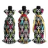 3pcs sacs de bouteille de vin, ciseaux sac fourre-tout de Noël pour mariage, cadeaux de fête, noël, vacances et fournitures de fête du vin