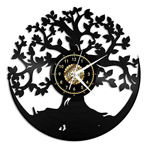zhangfuhe Reloj de Pared de Vinilo LED Árbol de la Vida Disco de Vinilo Decoración para el hogar Obra de cumpleaños Cumpleaños Lámpara de Noche Colgante Reloj 7 Color Claro