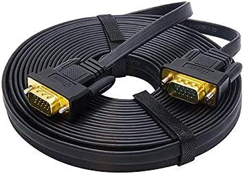 DTECH 10 m ultrad/ünner Flacher Computermonitor VGA-Kabel lang 32 Fu/ß Stecker zu Stecker 15-poliger Stecker Standard-SVGA-Kabel Schwarz