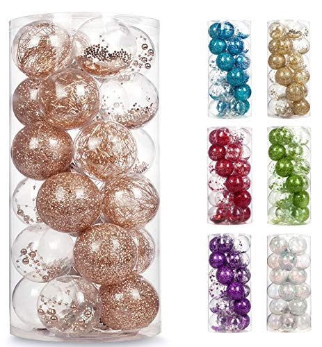 AMS 70mm/2.76'' Shatterproof Clear Plastic Christmas Ball Ornaments Decorative Xmas Balls Baubles Set with Stuffed Delicate Decoration (24ct, Champagne)