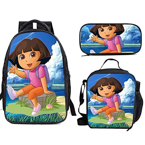 Do ra The Exp lorer: Mochilas escolares ligeras con bolsa de almuerzo para niñas y niños