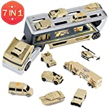 pingqian Military Truck Set, 7 in 1 Mini Die-cast Battle Car in Carrier Truck, Army Transport Vehicle Battle Car Toy Set for Kids