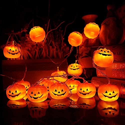 Zucca di Luci Stringa Halloween 3M 20 LED Lanterna Zucca Stringa per Feste Halloween Luci Perfette per Halloween
