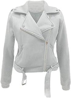 Women's Solid Lapel Turn Down Collar Slim Zipper Short Cropped Jackets Coat