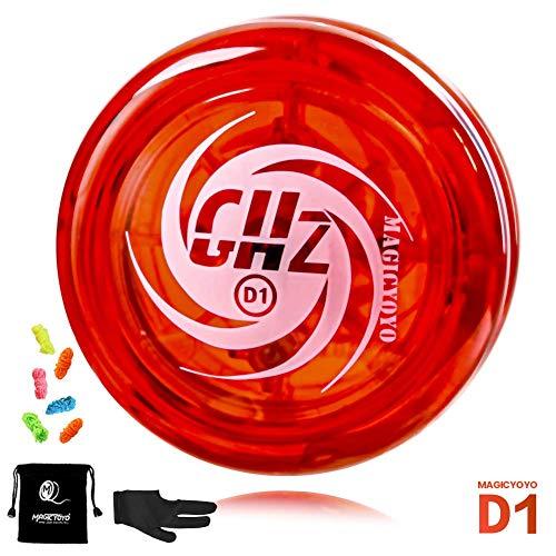 YOSTAR MAGICYOYO D1 GHZ Looping JoJo für Kinder, Responsive JoJo für Anfänger, einfach zu Spielen und grundlegende Looping-Tricks zu üben, mit 6 Yoyo-Saiten, Yo-Yo-Handschuh, Yo Yo-Tasche (Rot)