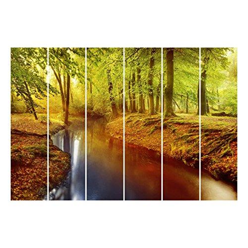 Bilderwelten Schiebegardinen Herbstwald - 6 Flächenvorhänge Wandhalterung 6X 250x60cm