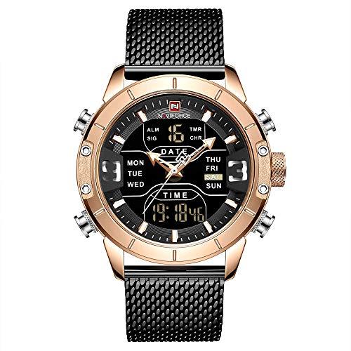 Reloj de Cuarzo con brújula para Hombre con Pantalla analógica y Correa de Cuero-D