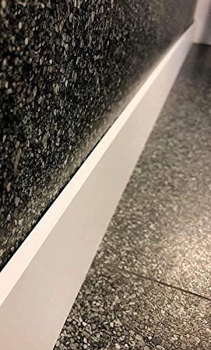 Plinthe revêtue en médium blanche, de très grande qualité, plinthes fabrication FRANCAISE, différentes dimensions (Hauteur 10cm finition carré, 50 ml)