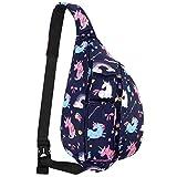 XEYOU Sling Chest Backpacks Bags Crossbody Shoulder Daypacks for Cycling Walking Dog Hiking Boys Girls Women Men (Rainbow Unicorn)