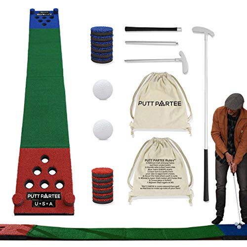 Beer Pong Golf Putting Game - Set of 2 Foldable putters, 2 Balls, 1 Putting mat for Outdoor and Indoor use with Carrier Bag. Best Party Game Set.