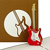 Tarjeta de felicitación 3D con texto en inglés E Guitars - Rock´n´rol y tarjeta de invitación para concierto - Tarjeta de cumpleaños, invitación y cheque regalo