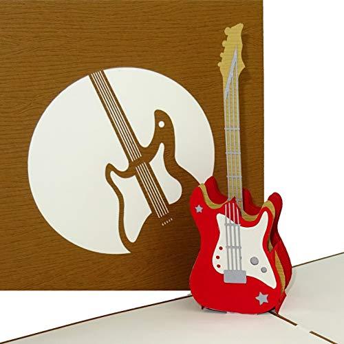 """Pop-Up Karte """"E Gitarre – Rock´n´Roll"""" 3D Glückwunschkarte & Einladungskarte zum Konzert – Geburtstagskarte, Einladung und Geschenkgutschein"""