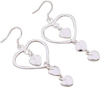 PMANY 925 Sterling Silver Plated Hearts Long Drop Dangling Earring