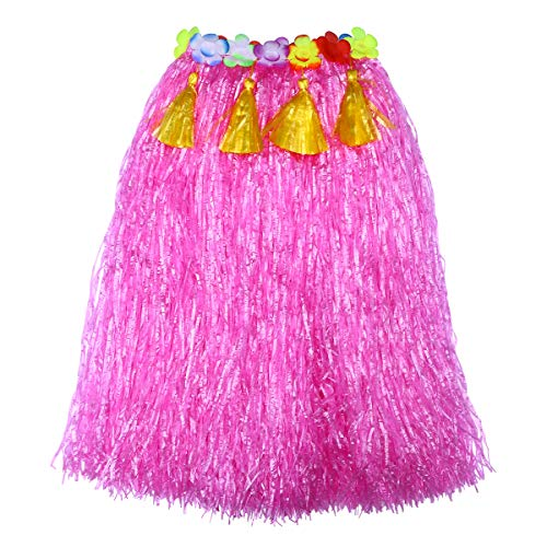 Amosfun Hawaii Grass Dance Rock Kinder Tropical Hula Grass Rock für Beach Luau Partykleid (80 cm Pink)