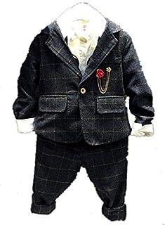 子供スーツ キッズ服 男の子衣装 ズボン、コート 3色 卒業式/入園式/発表会/七五三/結婚式フォーマル 90~130cm (90, グレー)