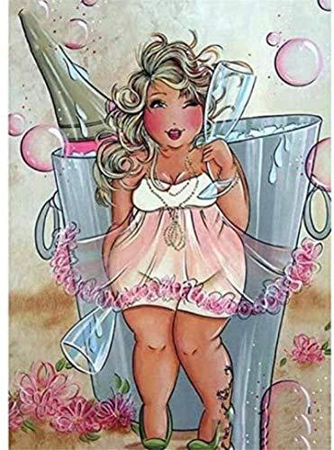 Pintura por números para adultos y niños Chubby Gir Copa de vino Pintura al óleo de bricolaje Kits de regalo Regalo Arte de la lona preimpreso Arte de la pared del hogar Decoración Regalo 40x50CM