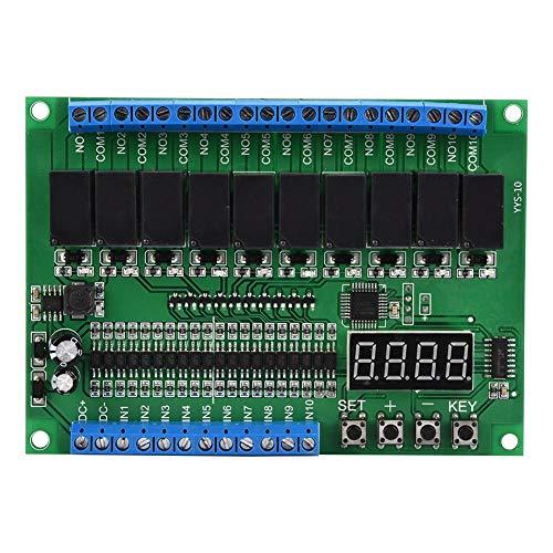 Módulo YYS-10, DC 7~30V Relés de 10 canales Módulo de control Pantalla de dígitos PLC/Enclavamiento automático/Enclavamiento/ENCENDIDO/APAGADO momentáneo