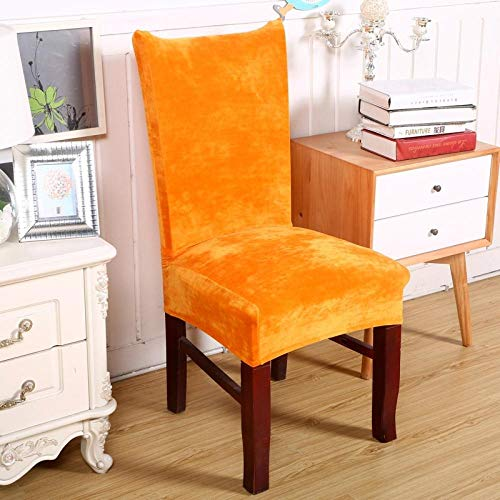 Jasken yyqx container Elastic Chair Cover Thick Elastic Chair Cover Banquet Piece Elastic 2 Sets, orange Silver Fox Velvet universal Chair Cover