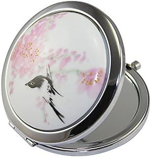 KOLIGHT New Vintage Chinese Landscape Flower Bird Double Sides Portable Foldable Pocket Metal Makeup Compact Mirror Woman Cosmetic Mirror (Flower+Black Bird)