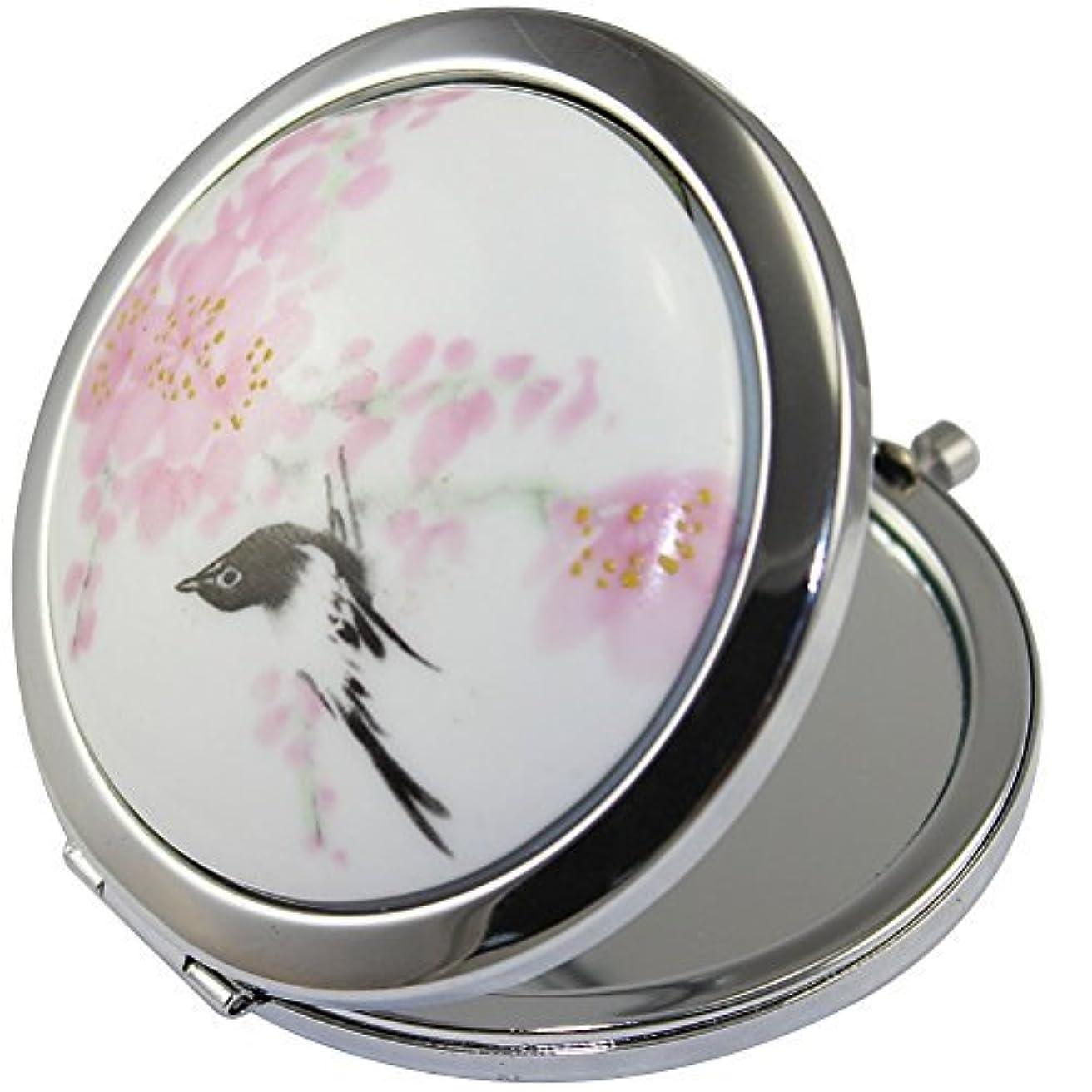 パドルパステルコークスKOLIGHT新しいヴィンテージ中国の風景フラワーバードダブルサイド(一つはノーマル、もう一つは拡大)Portable Foldable Pocket MetalメイクコンパクトミラーWoman Cosmetic Mirror(Flower + Black Bird)