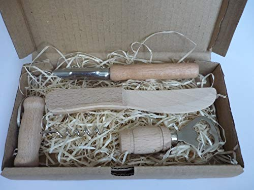Generico - Set di 4 accessori per cavatappi in legno naturale, strumento manuale di apertura del vino originale con apribottiglie, coltello da burro in legno, pelapatate per verdure e frutta