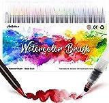 Amteker 24 Stylo Aquarelle + 1 Aqua Brush - Feutre Coloriage Feutre Alcool Feutres Pinceaux Brush Pen Feutre Pinceau pour Coloriage Adulte, Bullet Journal Accessoires, Stylo Calligraphie